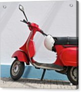 Red Vespa Scooter By Wall Acrylic Print