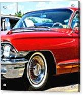 Red Vintage Cadillac Acrylic Print