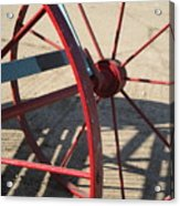 Red Waggon Wheel Acrylic Print