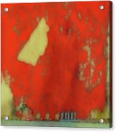 Red Wall With Boot  Acrylic Print