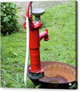 Red Water Pump Acrylic Print