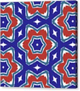 Red White And Blue Star Flowers 1- Pattern Art By Linda Woods Acrylic Print