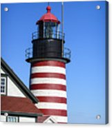 Red White Striped Lighthouse Acrylic Print