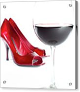 Red Wine Glass Red Shoes Acrylic Print