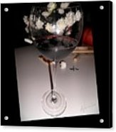 Red Wine With White Mums Acrylic Print