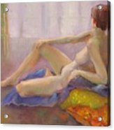 Red Yellow And Blue Nude      Copyrighted Acrylic Print