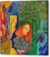Redhead With Flowers Acrylic Print