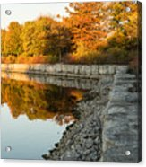 Reflecting On Autumn - Gray Rocks Highlighting The Foliage Brilliance Acrylic Print