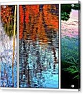 Reflecting On Autumn - Triptych Acrylic Print