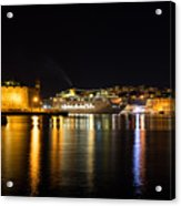 Reflecting On Malta - Cruising Out Of Valletta Grand Harbour Acrylic Print