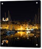 Reflecting On Malta - Senglea Golden Night Magic Acrylic Print