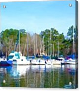 Reflecting The Masts - Watercolor Style Acrylic Print