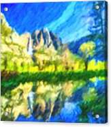 Reflection In Merced River Of Yosemite Waterfalls Acrylic Print