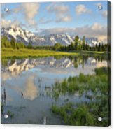 Reflection In Snake River At Grand Teton Acrylic Print