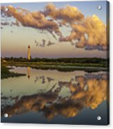 Reflection Of Clouds And Lighthouse Acrylic Print
