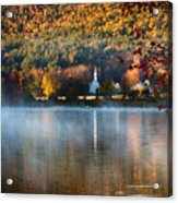Reflection Of Little White Church With Fall Foliage Acrylic Print