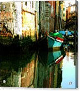 Reflection Of The Wooden Boat Acrylic Print