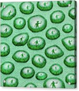Reflection Of Waving Man In Water Droplets On Green Acrylic Print