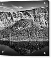 Reflection Of Wizard Island Crater Lake B W Acrylic Print