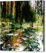 Reflection On Oscar - Claude Monet's Garden Pond Acrylic Print