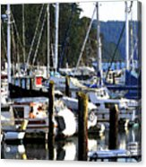 Reflections At Dock Acrylic Print