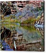 Reflections In Desert River Canyon Acrylic Print