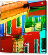 Reflections Near The Red Hull Acrylic Print