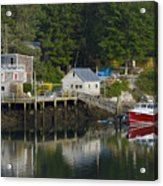 Reflections Of A Lobster Boat  Dock And Traps Acrylic Print