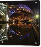 Reflections Of Veterans Memorial Bridge  Acrylic Print