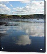 Reflections Of Widemouth Bay Acrylic Print