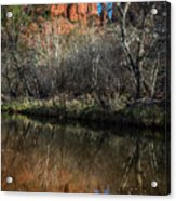 Reflections On Cathedral Rock Acrylic Print