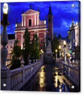 Reflections On Wet Triple Bridge After Rain At Dawn With Lights  Acrylic Print