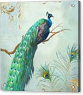 Regal Peacock 1 On Tree Branch W Feathers Gold Leaf Acrylic Print