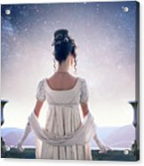 Regency Woman Looking At The Stars In The Night Sky  Acrylic Print