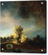 Rembrandt Landscape Paintings - The Stone Bridge Acrylic Print