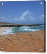 Remote Daimari Beach With Waves Rolling Ashore Acrylic Print