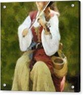 Renaissance Fiddler Lady Acrylic Print