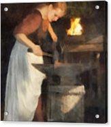 Renaissance Lady Blacksmith Acrylic Print