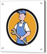 Repairman Holding Spanner Circle Cartoon  Acrylic Print