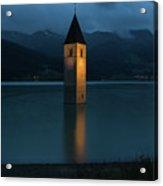 Reschensee By Night Acrylic Print by Yair Karelic