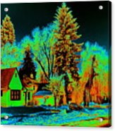 Residential Spokane In Cosmic Winter Acrylic Print