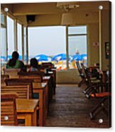 Restaurant On A Beach In Tel Aviv Israel Acrylic Print by Zalman Latzkovich