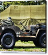 Restored Willys Jeep And Tent At Fort Miles Acrylic Print