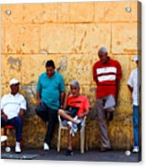 Retired Men And Yellow Wall Cartegena Acrylic Print