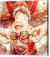 Retro 50s Beach Pinup Girl Acrylic Print