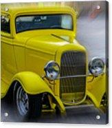 Retro Car In Yellow Acrylic Print