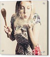 Retro Cooking Woman Giving Recipe Kiss Acrylic Print