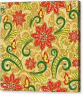 Retro Floral Seamless Pattern Acrylic Print