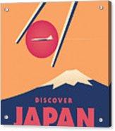 Retro Japan Mt Fuji Tourism - Orange Acrylic Print