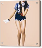 Retro Pinup Girl Blowing Travelling Departure Kiss Acrylic Print